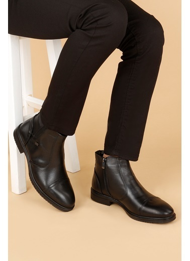 Ayakland Ayakland Hrz 096 Deri Kauçuk Taban Fermuarlı Erkek Bot Ayakkabı Siyah